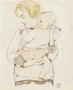 W.-Sauer-1889-1927-Moeder-met-kind-op-de-arm-Potlood-en-kleurpotlood-338-x-275-cm-ges.-en-gem.-r.o.-1920-