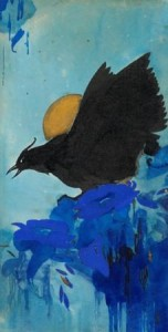 A.J.-van-t-Hoff-1893-1939-Vogel-in-maanlicht-aquarel-en-gouache-35-x-18-cm-gem.-r.o.