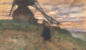 B.J.-Blommers-1845-1914-Molen-bij-ondergaande-zon-aquarel-ges.-r.o.-afm-29-x-48-cm