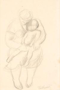 Ch.-van-Pallandt-1898-1997-Moeder-met-kind-potlood-31-x-20-cm-ges.-r.o.-en-ged.-1955-prov.-zie-e-mail