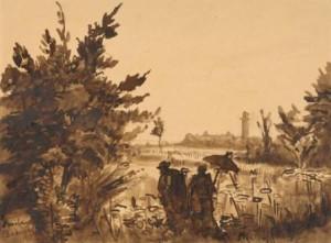 E.-Bernard-1868-1941-Un-couple-au-bord-du-lac-28-x-38-cm-bruine-inkt-met-wassing-ges.-l.o.
