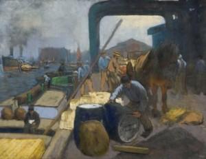 H.-Heijenbrock-1871-1948-Bedrijvigheid-op-de-kade-pastel-47-x-62-cm-ges.-l.o.