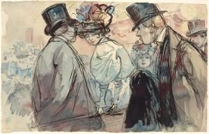 H.-Somm-1844-1907-Une-femme-au-chapeau-entouree-de-deux-hommes-155-x-243-cm-inkt-en-aquarel-ges
