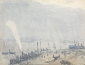 J.-Cossaar-1874-1966-De-Boompjes-potlood-en-aquarel-48-x-62-cm-ges-r.o.-en-Rotterdam