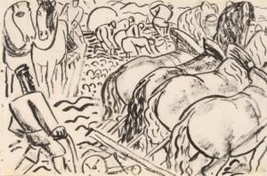 L.-Gestel-1881-1941-Landarbeiders-te-Vlaanderen-potlood-en-pen-115-x-175-cm