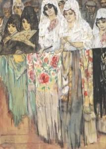 L.-Gestel-1881-1941-Spaanse-dames-in-de-Plaza-Madrid-1914-gouache-aquarel-en-houtskool-65-x-465-cm-ges.-l.o.