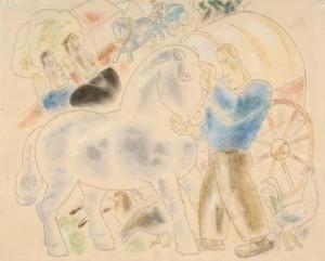 L.Gestel-1881-1941-Het-paard-inspannen-pen-aquarel-en-pastel-36-x-44-cm-ges.-en-28