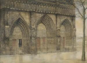 P.-Dupont-1870-1911-De-portalen-van-de-Notre-Dame-te-Parijs-houtskool-en-waskrijt-71-x-98-cm-ges.-l.o.-en-ged.-1906