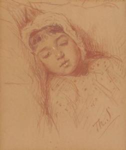 Th.-Schwarze-1852-1918-Slapend-kindje-rood-krijt-46-x-37-cm-ges.-r.o.