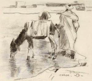 W.-Dooyewaard-1892-1982-Drinkende-ezeltjes-houtskool-en-pastel-15-x-17-cm-gemon.-r.o.