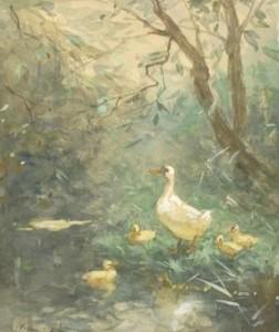 W.-Maris-1844-1910-Moedereend-met-kuikens-aquarel-27-x-21-cm-ges.-l.o.