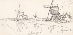 W.-Roelofs-1822-1897-Molens-bij-Gouda-zwart-krijt-85-x-17-cm-prov.-atelier-W.-Roelofs