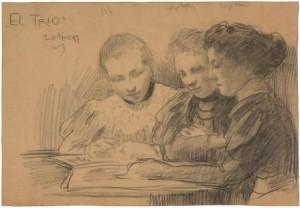 W.-Sluiter-1873-1949-El-Trio-houtskool-335-x-485-ges.-en-97