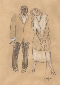 W.-Sluiter-1873-1949-Lachend-paar-zwart-en-gekleurd-krijt-ges.-r.o.-28-x-19-cm