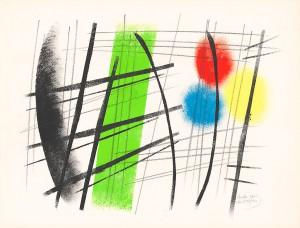 A. van de Vossen - 1893 - 1963 - Compositie 1949 - Pastelkrijt - 50 x 65 cm - ges. r.o. - catalogus A. van der Vossen 1992 afb. 50