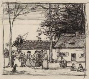 J.-Smits-1855-1928-Spelende-kinderen-zwart-krijt-205-x-23-cm-ges.