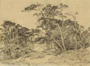 J.H.-Akkeringa-1861-1942-Duinlandschap-Zwart-krijt-30-x-49-cm-ges.