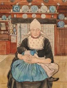 J.H.-de-Roos-1877-1962-Volendamse-moeder-met-kind-potlood-houtskool-en-aquarel-415-x-318-cm-ges.