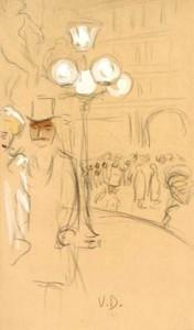 K.-van-Dongen-1877-1968-Sortie-de-lopéra-zwart-krijt-gouache-en-aquarel-451-x-267-cm