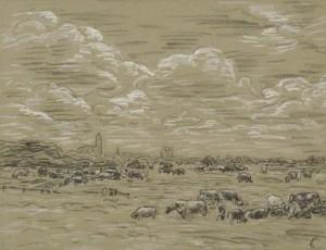 L.-Gestel-1881-1941-Goois-landschap-houtskool-met-wit-gehoogd-met-atelier-stempel-40-x-60-cm