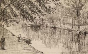 M.-van-de-Valk-1857-1935-Dorpsgezicht-met-vaart-houtskool35-x-42-cm-ges.
