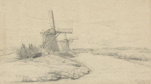 P.-Gabriël-1828-1903-Molens-op-de-Kinderdijk-zwart-krijt-31-x-51-cm-ges.