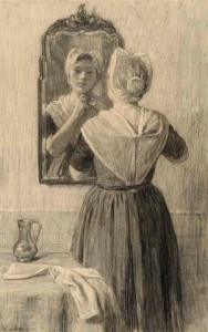 Prof.-N.-vd-Waay-1883-1936-Weesmeisje-voor-spiegel-50-x-80-cm-zwart-krijt-ges.-r.o.