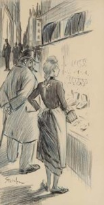Th.-Steinlen-1859-1923-Bij-de-juwelier-gekleurd-krijt-38-x-19-cm-ges.
