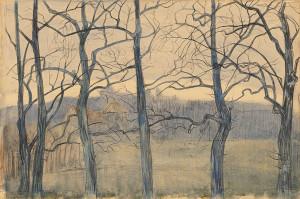 Th.-van-Hoytema-1863-1917-Bomenlandschap-potlood-en-aquarel-32-x-475-cm-ges.-r.o.