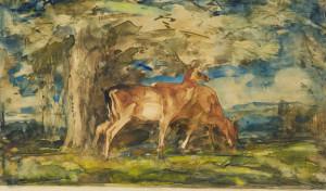 W.-van-Konijnenburg-1868-1943-Hert-in-landschap-aquarel-18-x-21-cm-ges.
