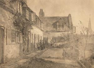 W.B.-Tholen-1860-1931-Binnenplaats-met-figuren-zwart-krijt-30-x-41-cm-ges.-r.o.
