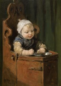 D.A.C. Artz ( 1837 - 1890 ) -  Kindje in kinderstoel - Olie op paneel -  22 x 16 cm  ges. l.o.