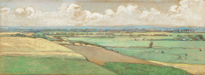 L.W.R.-Wenckebach-1860-1937-Gezicht-op-Beek-Limburg-zwart-krijt-en-pastel-15-x-41-cm-gem.-r.o.-en-ged.-1907