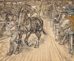P.-Dupont-1870-1911-Paardenmarkt-1904-zwart-krijt-en-pastel-42-x-55-cm-ges.-r.o.11