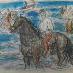Gestel-paard-en-zwemmers-in-zee
