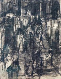 Israels-Isaac,-Kalverstraat,-zwart-krijt-op-papier